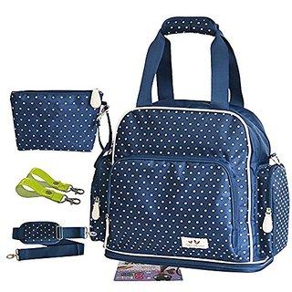 Landuo 2Pcs Small Dots Multifunctional Baby Diaper Nappy Bag Backpack Blue