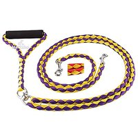 Hertzko Stong Braided No Tangle Dual Pet Leash - Colors May Vary -Purple & Yellow / Red & Yellow
