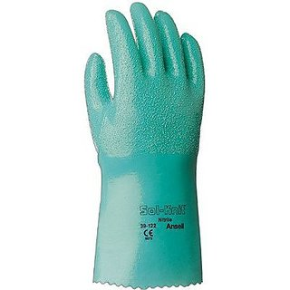 Ansell 39-122-10 Sol-Knit Nitrile Gloves, Gauntlet Cuff, Interlock Knit Cotton Lined, Size 10, Green (Pack of 12)