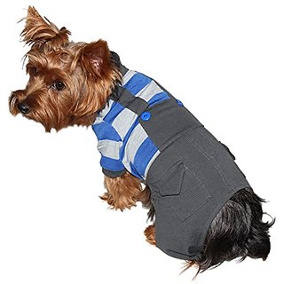 UP-Collection Grey Overall with Integrated Striped Dog T-Shirt, X-Large