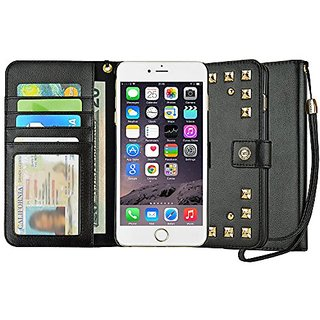 Studded iPhone 6S Case, caseen Fina Wallet Case Gold Stud Hardware Wristlet (Black) 4.7 Inch