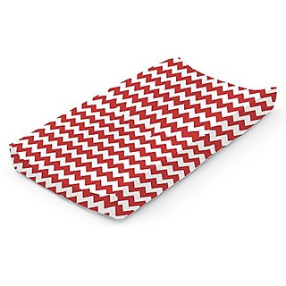 bkb Chevron Contour Changing Pad Cover, Red