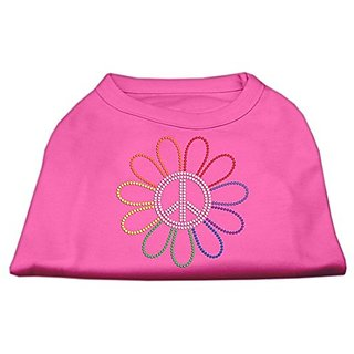 Mirage Pet Products Rhinestone Rainbow Flower Peace Sign Pet Shirt, Large, Bright Pink