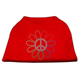 Mirage Pet Products Rhinestone Rainbow Flower Peace Sign Pet Shirt, Large, Red
