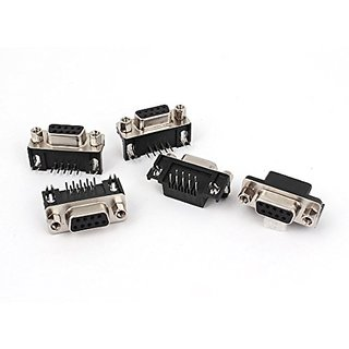 uxcell DB-9 2 Row 9P Female Jack DIP PCB VGA Cable Connector Adapter 5 Pcs