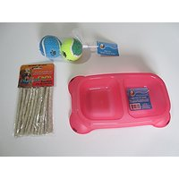 VOLT-X Doggie Bundle Of A 2 Section Red Pet Bowl, Dog Snacks- Munchy Chews & Toy Balls
