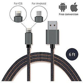 Aoken 6ft Denim Micro USB Cable for Android and IOS Devices Fast-Charging and Data Transmission 2 in 1