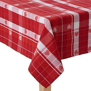 Vc-k84 Valentines Day Heart Tablecloth 60 x 84 Tartan Jacquard Red & White With Sparkle Thread