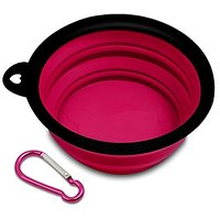 Travel Dog Bowl Collapsible, PETBABA Lightweight No Spill Portable Silicone Dog Food Bowl Rose