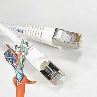 InstallerParts 50 ft Cat 5E Shielded Patch Cable Molded White -- Professional Series -- 50 Micron Gold Plated RJ45 Conne