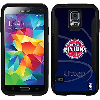 Coveroo Detroit Pistons Basket Ball Design Phone Case for Samsung Galaxy S5 - Retail Packaging - Black/Black