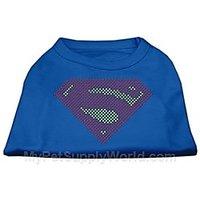 Mirage Pet Products Super Rhinestone Pet Shirt, X-Small, Blue