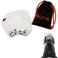 Alfie Pet By Petoga Couture - Rosie Bridal Wedding Clip Veil With Fabric Storage Bag - Style: White Flower, Size: Small