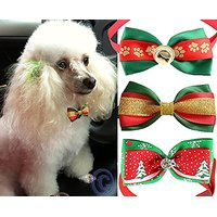"Set Of 3 Pet Bow Ties With Adjustable Collar For Any Occasion For Dogs And Cats - Neck Size: 9"" - 14"""