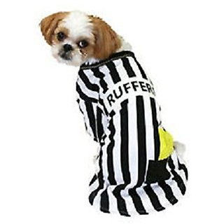 Rufferee Dog Costume Striped Referee Pet Tee Halloween T-Shirt