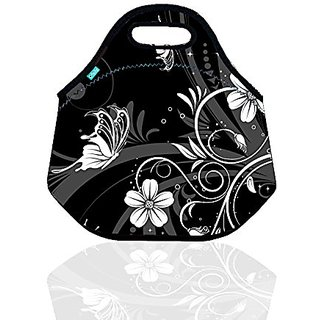 Neoprene Lunch Tote, OFEILY lunch bag black(Middle, White Flower&Black)