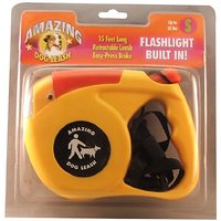 Amazing Flashlight Retactable Leash For Dogs/Cats Up To 22-Pound, Red And Yellow