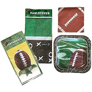 Football Touchdown Paper Plate Bundle Includes Plates, Napkins, Tablecloth and Centerpiece Set of 4 - Service for 14