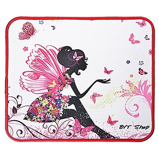 BYT Shop Gaming Mouse Pad Non-Slip Rubber MousePad Medium Size (11.8 x 9.8 x 0.1in)(Flower Fairy)