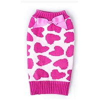 JJ Store Pet Heart Bowknot Warm Knitted Sweater Coat Clothes For Small Medium Large Dog