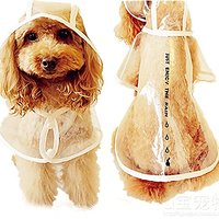 Bolbove Pet Rainy Days Slicker Puppy Transparent Raincoat Doggie Poncho For Small Dogs (Transparent Color, Large)