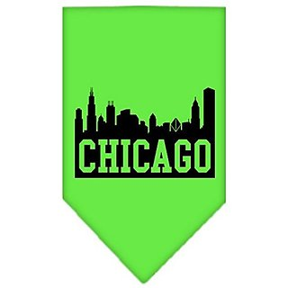 Mirage Pet Products Chicago Skyline Screen Print Bandana, Large, Lime Green