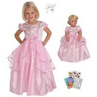 Little Adventure Royal Pink Princess Dress Size 5-7 With Doll Dress And Hair Bow
