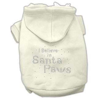Mirage Pet Products 8-Inch I Believe in Santa Paws Hoodie, X-Small, Cream