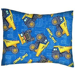 SheetWorld Crib / Toddler Percale Baby Pillow Case - Constructions Trucks Blue - Made In USA