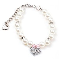 PETFAVORITES™ Couture Designer Fancy Pinky Crystal Heart Pet Cat Dog Necklace Jewelry With Bling Pearls Rhinestone
