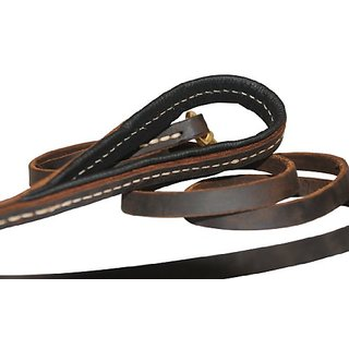 Dean and Tyler Soft Touch Dog Leash, Brown 6-Feet by 1/2-Inch Width With Black Padded Handle And Solid Brass Snap Hook.