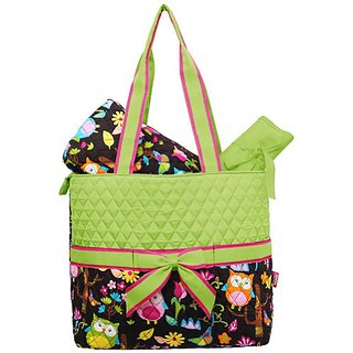Private Label Monogrammable Green Quilted (3) Piece Diaper Bag With Ribbon Accents & Colorful Owl & Flower Print Bottom