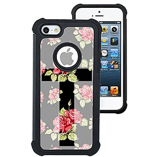 CorpCase iPhone 5 Case / iPhone 5S Case / iPhone SE Case - Cross Floral / Hybrid Unique Case With Great Protection