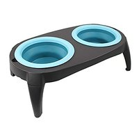 2 Removable Collapsible Pet Feeder Bowls- Travel Dog Bowl Dog Feeder Dish Food Water Bowl, Washable, Non Corrosive Rust