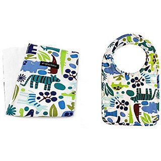 100% Cotton Terry Extra Thick and Absorbent Baby Bib and a Matching Burp Cloth, Zoo Frenzy