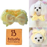 BroBear Elastic Pet Head Wear With Bowknot Design For Small Dogs & Cats Party Costume - Also Used As Neck Warmer (Yellow