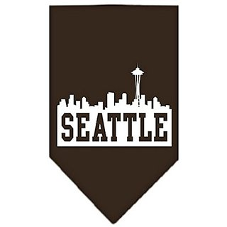 Mirage Pet Products Seattle Skyline Screen Print Bandana, Small, Cocoa