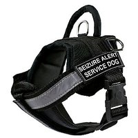 DT Works Harness With Padded Reflective Chest Straps, Seizure Alert Service Dog, Black, X-Small, Fits Girth Size: 21-Inc