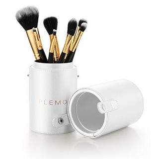 Makeup Brush Set, Plemo Cosmetic Brushes with PU Leather Holder Foundation Powder Blending Bronzer Angled Contour Eye Sh