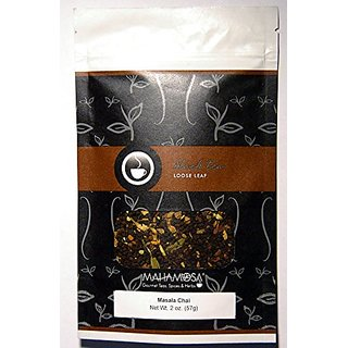 Mahamosa Black Chai Tea Loose Leaf (Looseleaf) - Masala Chai Tea 2 oz (with ginger root, cinnamon, green cardamom and ci