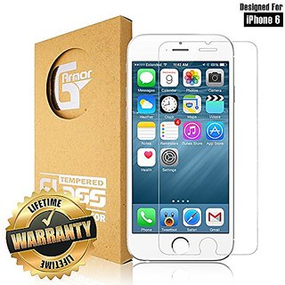 iPhone 6 Screen Protector (9H Tempered Glass) by G-Armor - Ultra Clear Scratch Proof Protective Screen Shield with