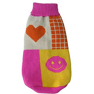 Lovable-Bark Heavy Knit Ribbed Fashion Pet Sweater, Pink, Orange, White and Yellow, LG