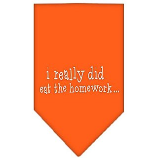 Mirage Pet Products I Really Did Eat The Homework Screen Print Bandana, Large, Orange