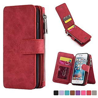 kiwitat Genuine Leather Case Cover Zipper Wallet Card Multifunction For iPhone 6 /6S (Red)