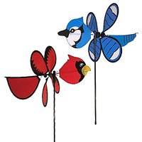 Maven Gifts: In The Breeze Garden Spinner Birds 2-Pack - Baby Blue Jay Garden Spinner With Baby Cardinal Garden Spinner