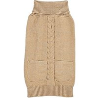 Zack & Zoey Elements Metallic Cable Sweater For Dogs, Almond, Medium