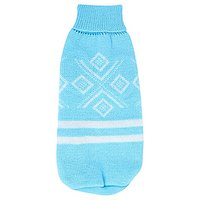 Uxcell Small Rhombus Pattern Pet Dog Turtleneck Warm Knitwear Sweater, Size 10, Baby Blue