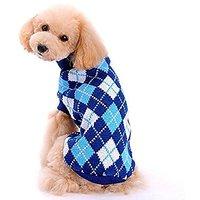 6d Small Pet Dog Plaid Style Sweater Knitwear Coat Apparel (blue, M)