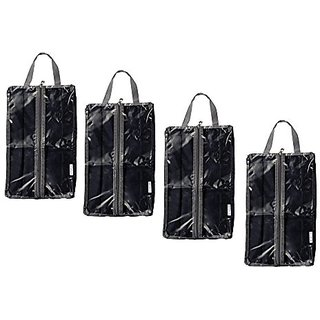 Polyester Travel Shoe Bags with Zipper Closure and Clear Windows, Set of 4 by Juvale