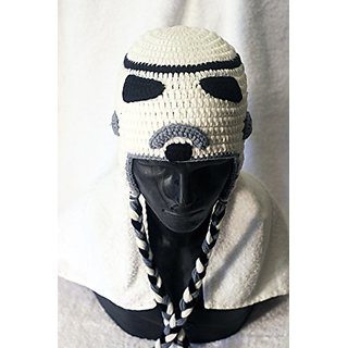 Milk protein cotton yarn handmade Stormtrooper hat - fits Teen and Adult Female